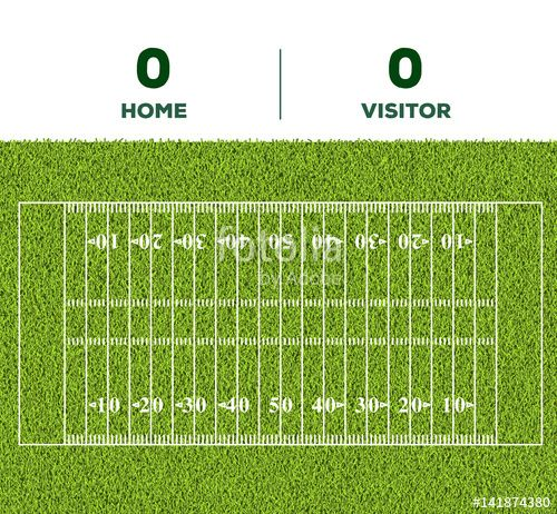 Vector:  American football line, game score and green grass field background