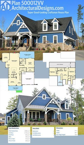 Exceptional Architectural Designs Super Good Looking Craftsman House Plan 500012VV  Gives You 3 Beds, 2.5
