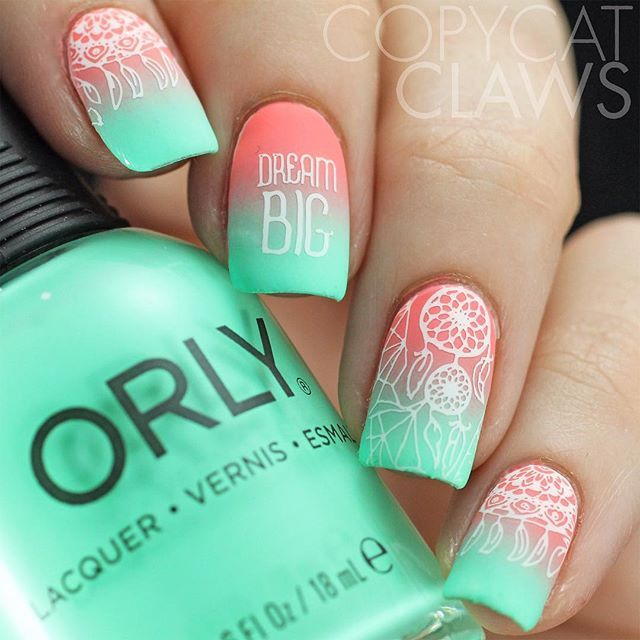Dream Catcher nail art using  @bundlemonster's Festival collection. The gradient is @orlynails Vintage and Freestyle, stamped with White and BM-S301