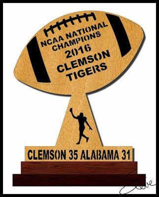 Clemson Tigers 2016 NCAA Football National Champions Scroll Saw Pattern.