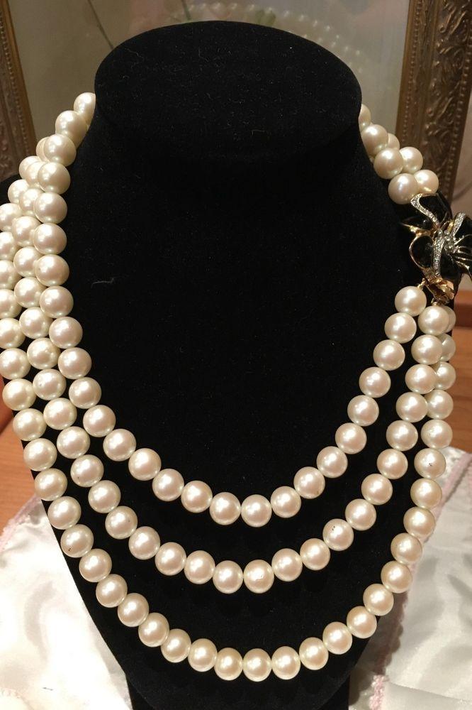 Vintage Richelieu Faux Pearl Necklace Double Strand Signed