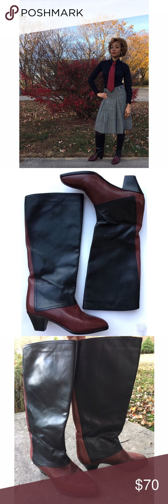 """Italian Leather Colorblock Vintage Style Boots 6 Handcrafted in Italy, these beauties will stay with you for a lifetime. Soft buttery black and brown leather, almond toe, and 2"""" heel. Wear them with jeans, leggings, or skirts; so many options. My friend sent them to me from Italy, but they're a little tight on me, so if you're a true 6, or a 5.5, these are the boots for you! Almost new condition. Di Marzio Shoes Heeled Boots"""