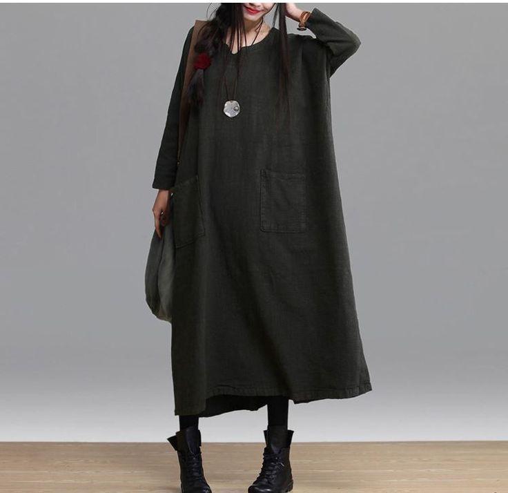 Linen Maxi Dress Loose Fitting Long Dresses - Buykud - 5