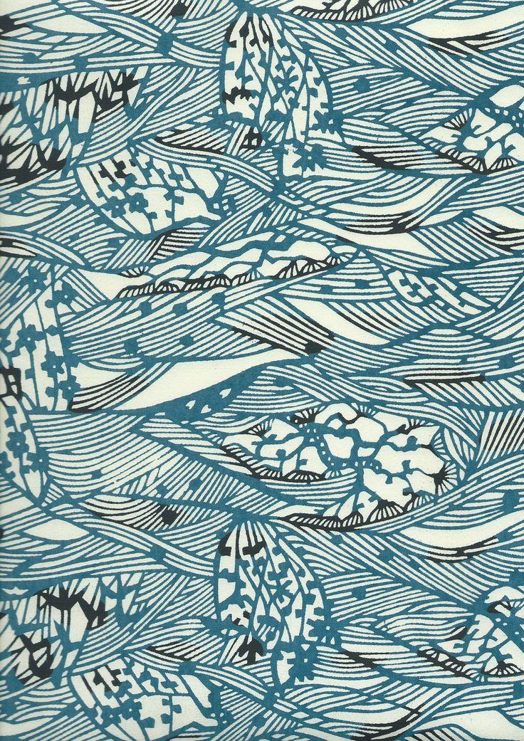 Papier japonais katazome - Motif vagues stylisées bleues