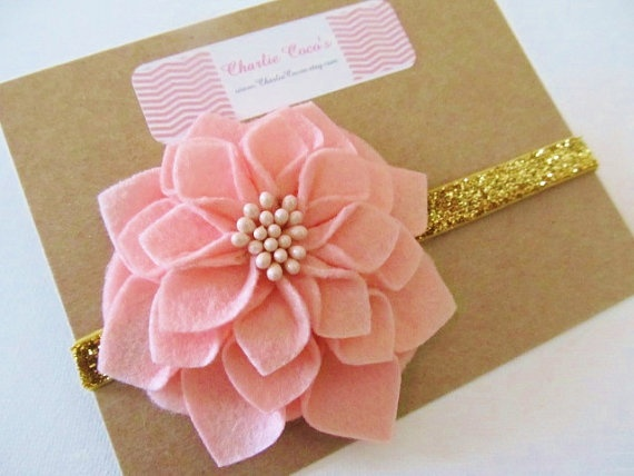 Baby/Girls Flower Headband- Pink, Ivory & Gold Holiday Glamor by Charlie Coco's