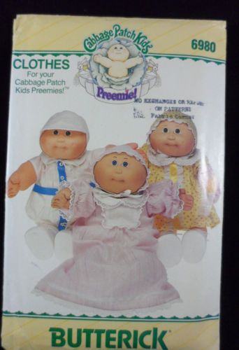 Butterick-Sewing-Pattern-6980-Cabbage-Patch-Preemies-Doll-Clothes-UNCUT-1984