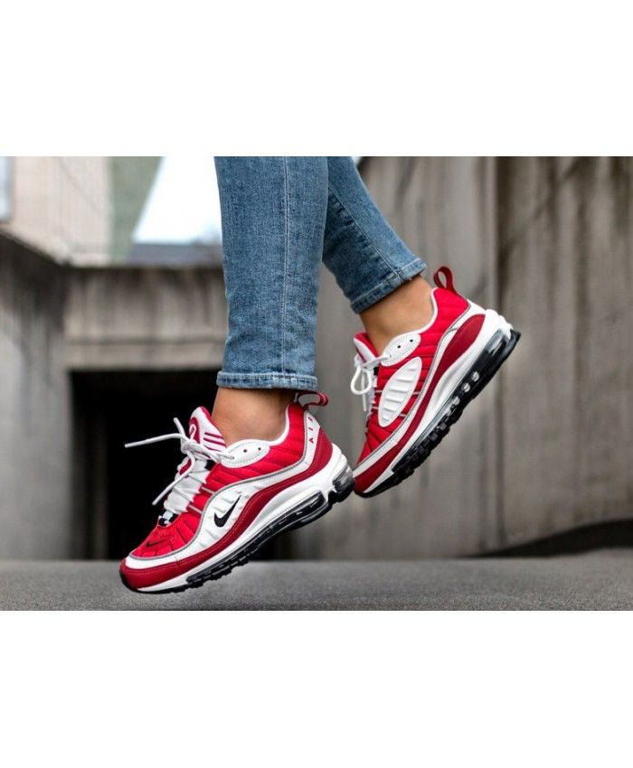 on sale 42efe 49ee6 Women s Nike Air Max 98 White Black Gym Red Trainer,The new nike air max 98  is too practical, too beautiful!