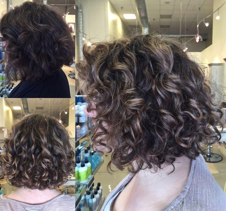 Curly Hair Balayage Highlight On Lob Short Bob Natural
