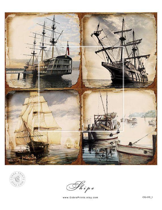 Antique navires 4 x 4 pouces tuiles 5 Collage par SquareCobra