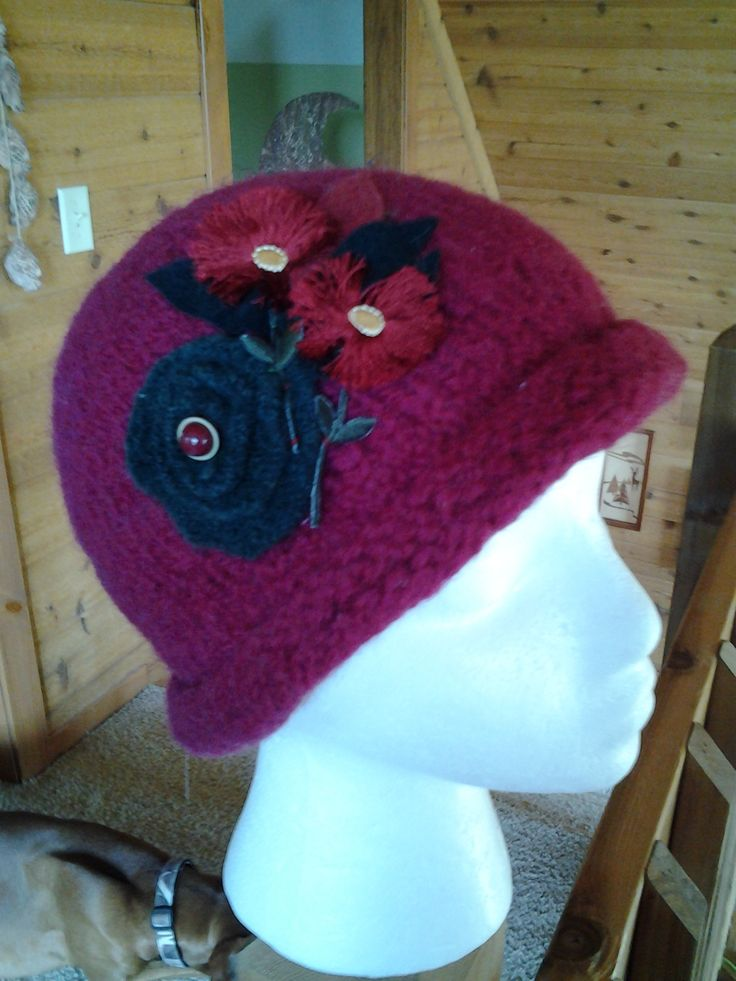 Burgandy brimmed wool hat with wool flowers and vintage buttons!
