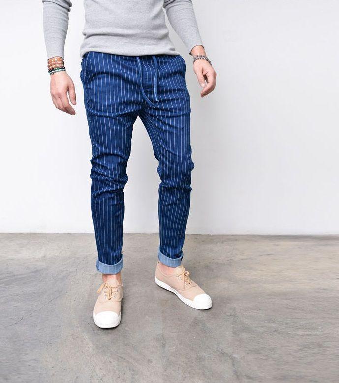 Striped Slim Baggy Drawcord Jeans Sweatpants 273 Blue via SNEAKERJEANS STREETWEAR SHOP