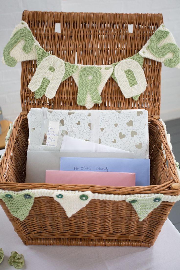 Card Basket Hamper Bunting Sage Green Cream Homemade Knitted Wedding