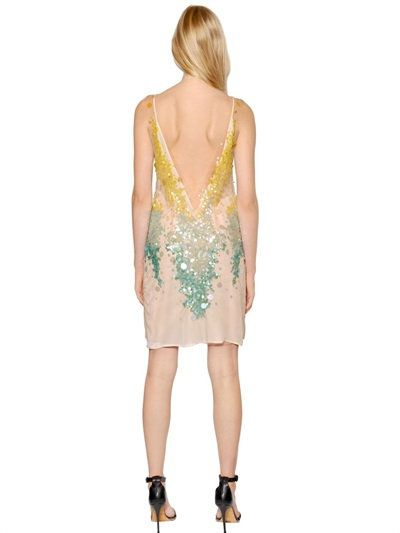 AMEN - GRADIENT SEQUINED TECHNO TULLE DRESS - LUISAVIAROMA - LUXURY SHOPPING WORLDWIDE SHIPPING - FLORENCE
