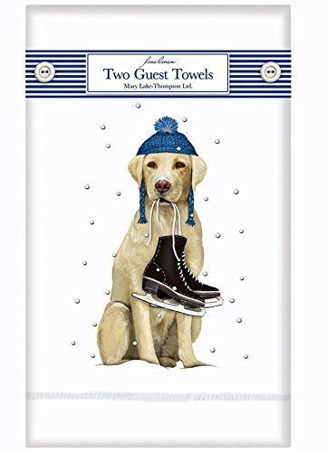 Winter Yellow Labrador Retriever Dog - Set of 2 Linen Guest Tea Towels Mary Lake Thompson