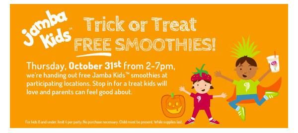 Don't forget to take the kids for their FREE #JambaJuice smoothie today 2-7pm #JambaAmbassador cmp.ly/3/IRdUn0  HAPPY HALLOWEEN