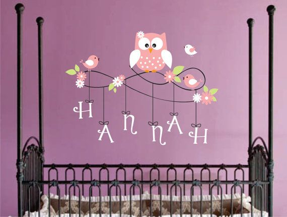Personalized Name Owl Wall Decal - Nursery Wall Decals - Owl and Bird Childrens Wall Decals -Vinyl Lettering Wall Art -. $38.00, via Etsy.