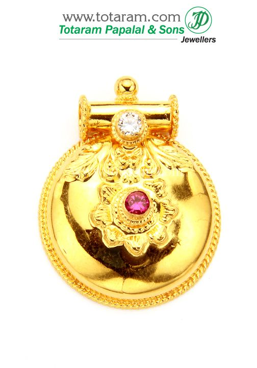 22K Gold Mangalsutra Pendant With Cz