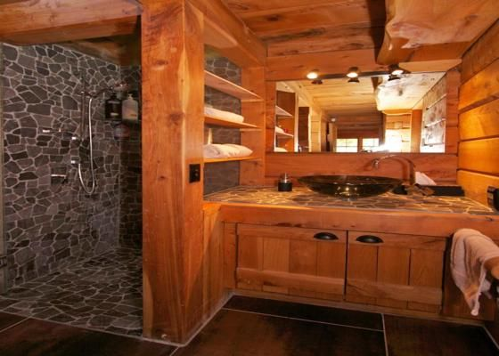 17 best images about log cabin on pinterest two person for Log cabin bathroom pictures