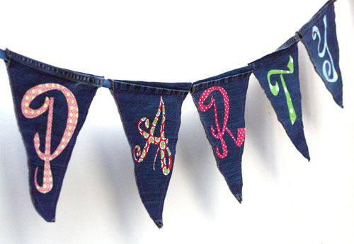 Recycled jeans pennant bunting