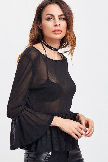Blusa bell sleeve mesh - Negro