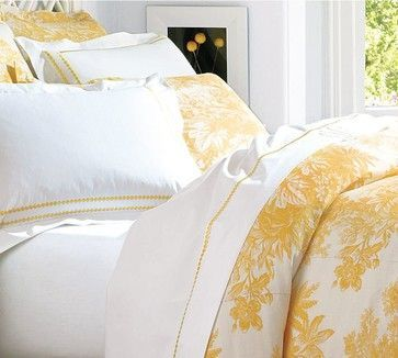 Matine Toile Duvet Cover, Marigold, Full/Queen - traditional - duvet covers - Pottery Barn