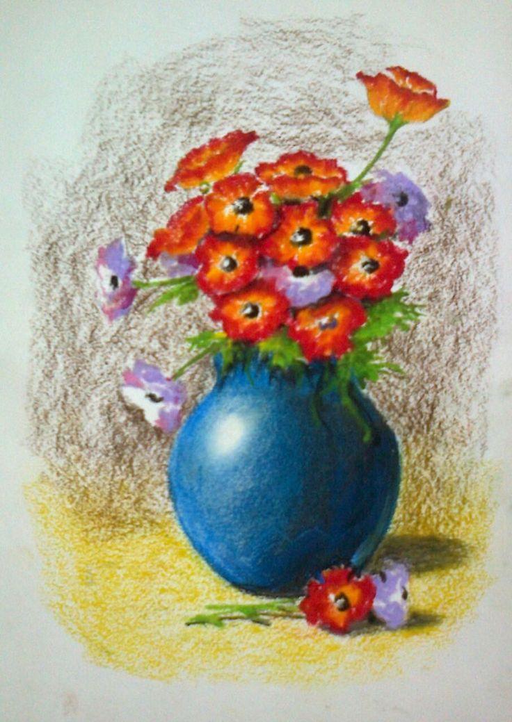 Classroom Banner Ideas ~ Quot flower vase oil pastels on cartridge paper