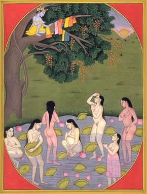 """Krishna stealing the Gopis clothing. """"Eye Am"""". Source: uncredited"""