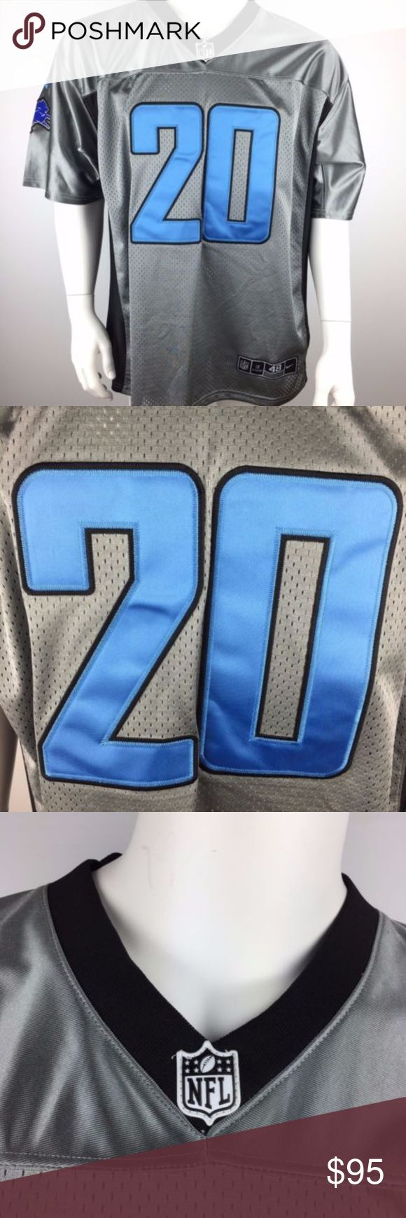 "Nike NFL On Field Jersey Detroit Lions Sanders Nike NFL On Field Jersey Detroit Lions #20 Barry Sanders Men's size 48 (XL) Gray with blue New with tags, Does have a bit of thread missing on the bottom of the ""A"". mc2 Nike Shirts Tees - Short Sleeve"