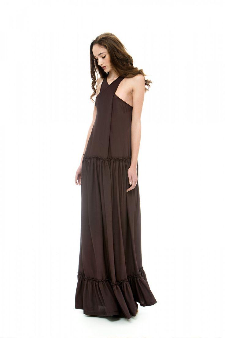 Brown open back dress