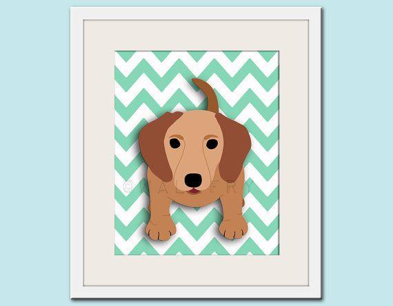 Dog art print, chevron baby nursery art for children. Kids puppy dog wall art. 11x14 Dachshund print by WallFry