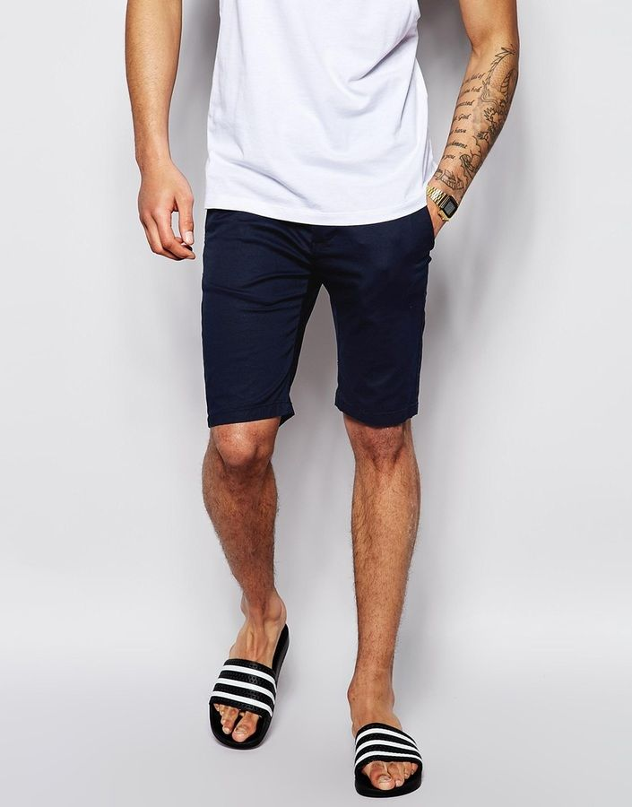 $33, Navy Shorts: Asos Brand Chino Shorts In Skinny Fit In Mid Length. Sold by Asos. Click for more info: https://lookastic.com/men/shop_items/188991/redirect