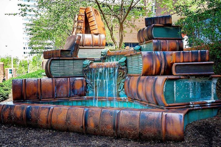 The fountain at the Cinncinati Public Library.