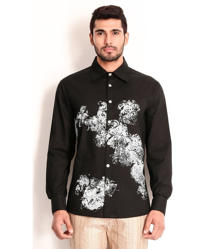 Samant Chauhan Cotton Shirt with Block Technique, http://www.snapdeal.com/product/designer-wear-black-cotton-shirt/769977683