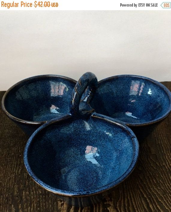 Three Bowl Cobalt Blue Condiment Server Wheel Thrown Pottery Ready to Ship by donnakellerpottery on Etsy