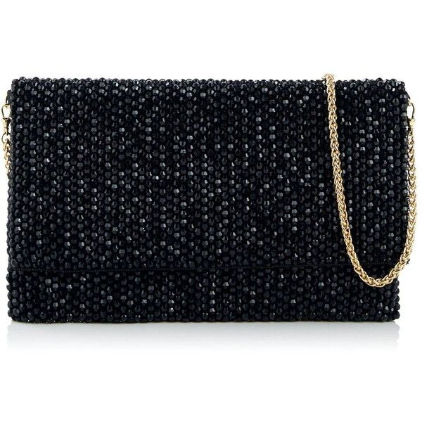 Reiss Minty Crystal Embellished Clutch Bag ($125) ❤ liked on Polyvore featuring bags, handbags, clutches, black, reiss handbags, evening clutches, strap purse, beaded evening handbags and cocktail purse