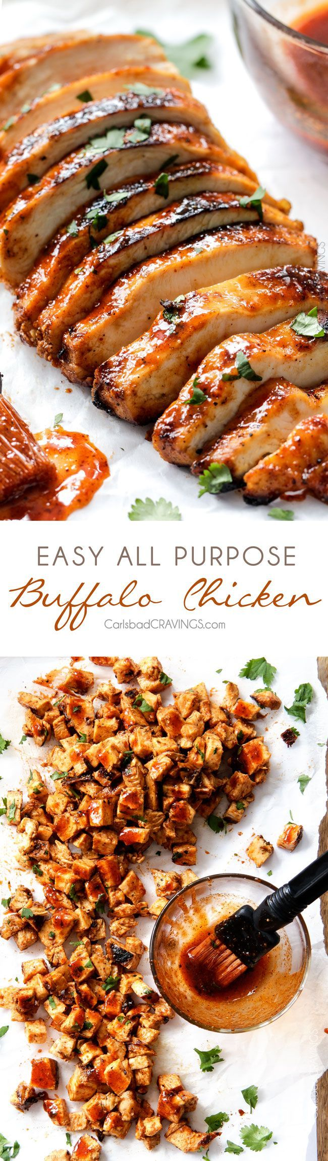 All Purpose Buffalo Chicken is SO juicy and flavorful from the easy marinade and is a meal all  itself or instantly transforms salads sandwiches wraps tacos etc into the most flavor bursting meal EVER! I love having this chicken on hand!