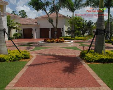 driveway with clay pavers