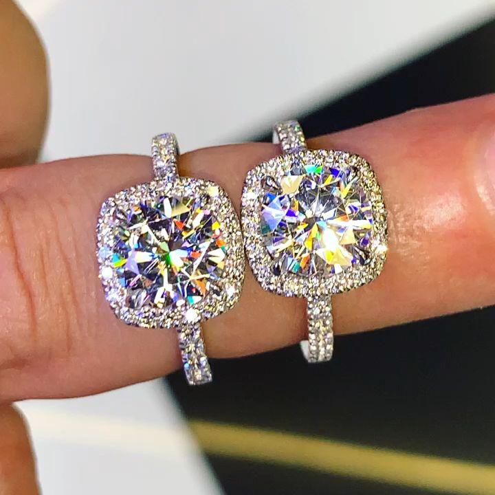 2.00ct Moissanite with Cushion Diamond Halo Engagement Ring