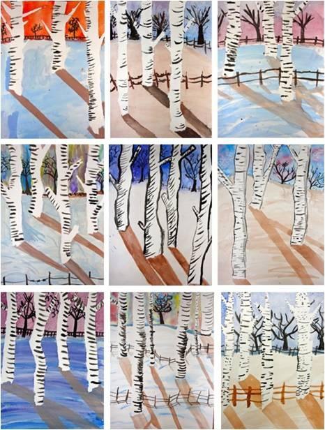Art Dish: Winter Birch Trees