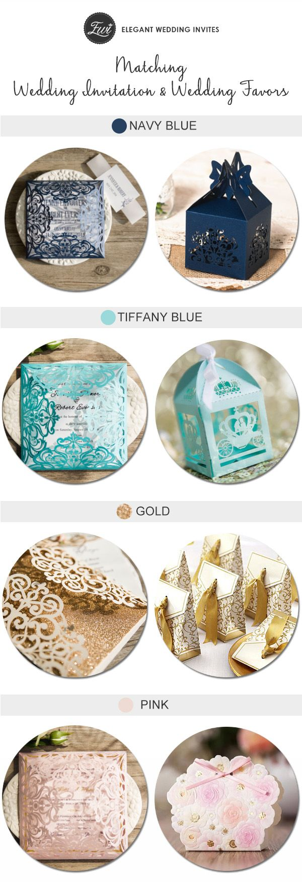 elegant laser cut wedding invitations and wedding favors to match with your color schemes