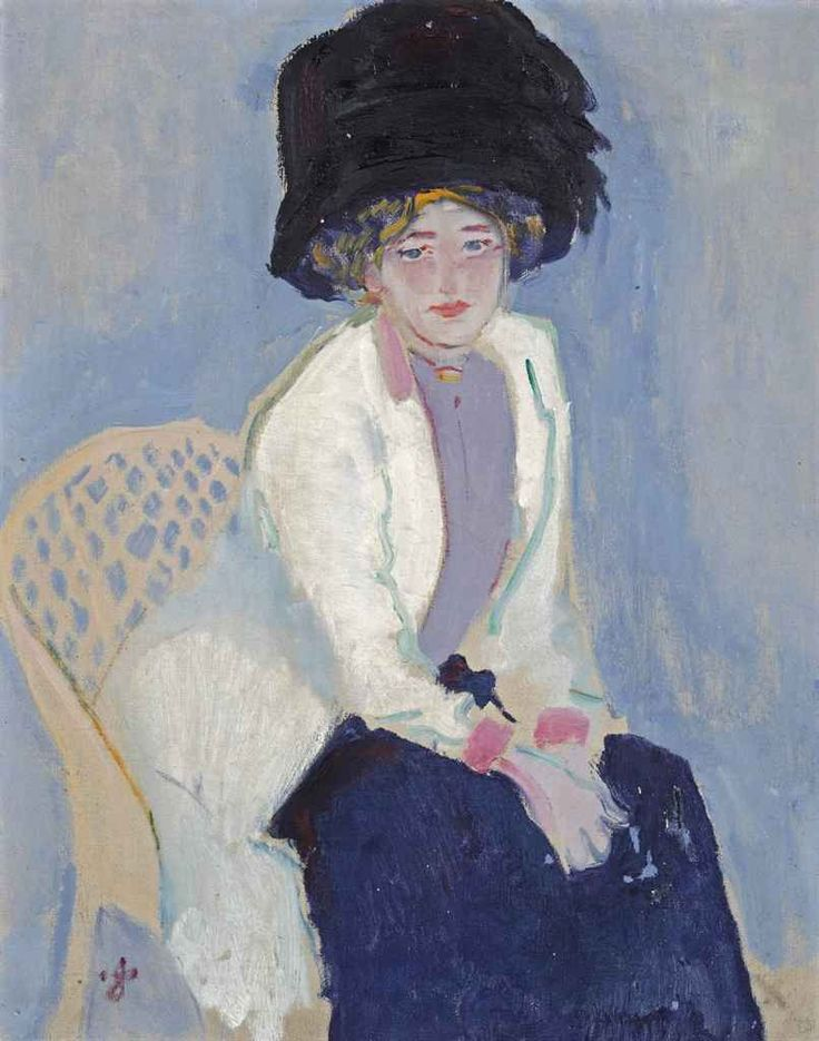 ▴ Artistic Accessories ▴ clothes, jewelry, hats in art - Jan Sluijters | A portrait of Greet with a hat, c.1909.