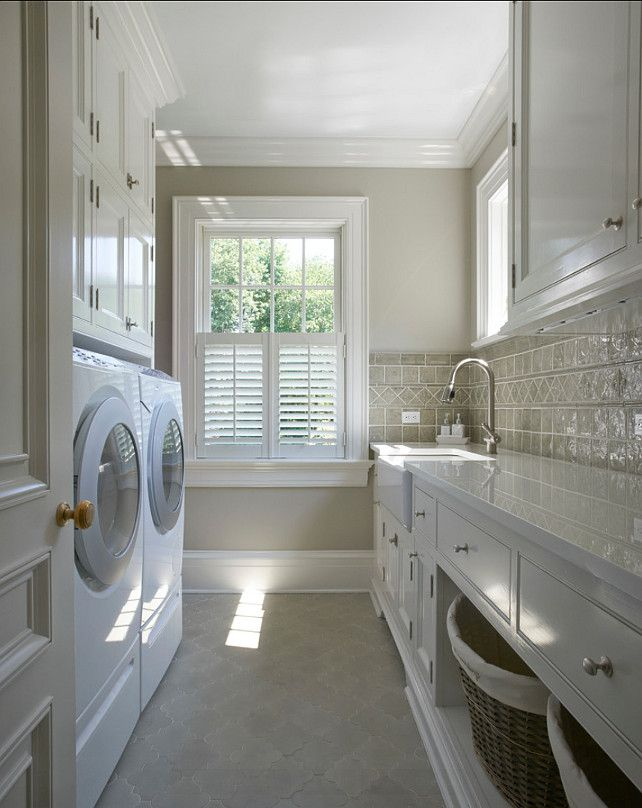 Laundry Room Design Ideas - tile flooring is Fine Art Tileworks 4 x 4, with a 3 x 3 Fleur de Lys inset. The color is Celadon.