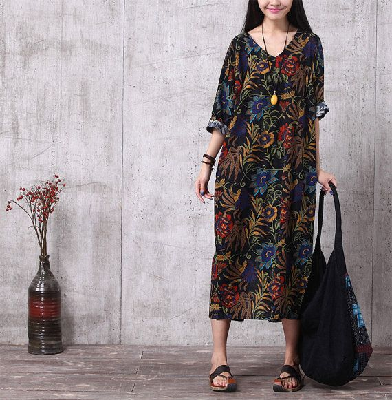 Casual Loose Fitting Cotton and Linen Long Dress by deboy2000