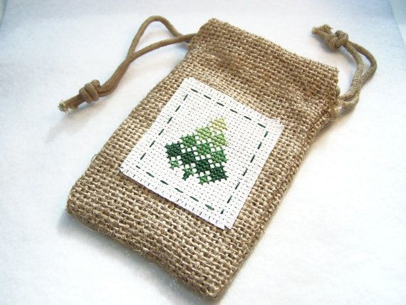 love this idea... stitch pattern directly onto burlpa bag... perhaps paint/stamp image underneath first.