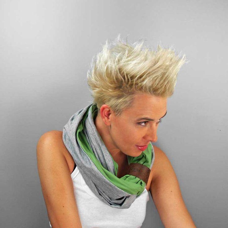 KOMIN TUBA SZAL zielony szary dwukolorowy dzianina (sprzedawca: purol design), do kupienia w DecoBazaar.com #komin #tuba #zielony #green #infinityscarf #circlesacrf
