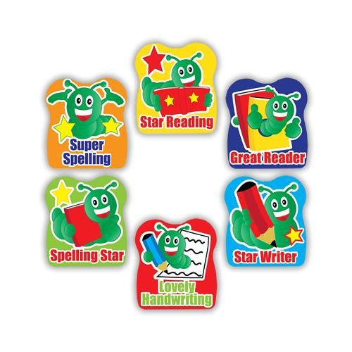 Bookworm Praise stickers. 21mm Stickers. 150 per pack.