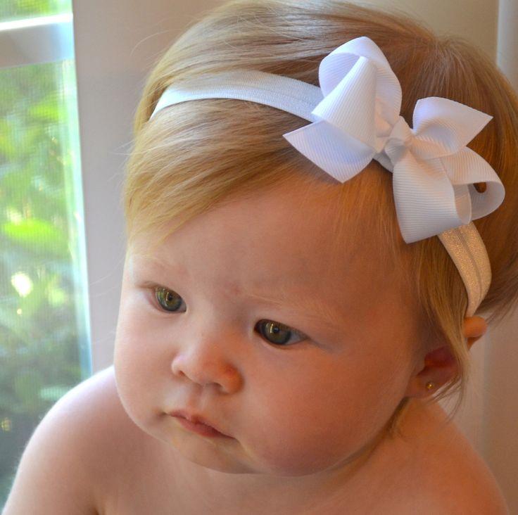 White Baby Bow Headband, Christmas, Baptism, Wedding, Baby Hair bows, Newborn Headband, Baby Girl Headband, Baby Photo Prop.. $6.99, via Etsy.