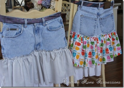 A pair of old jeans, a man's tie, and some fabric scraps... Voila... a cute homemade apron