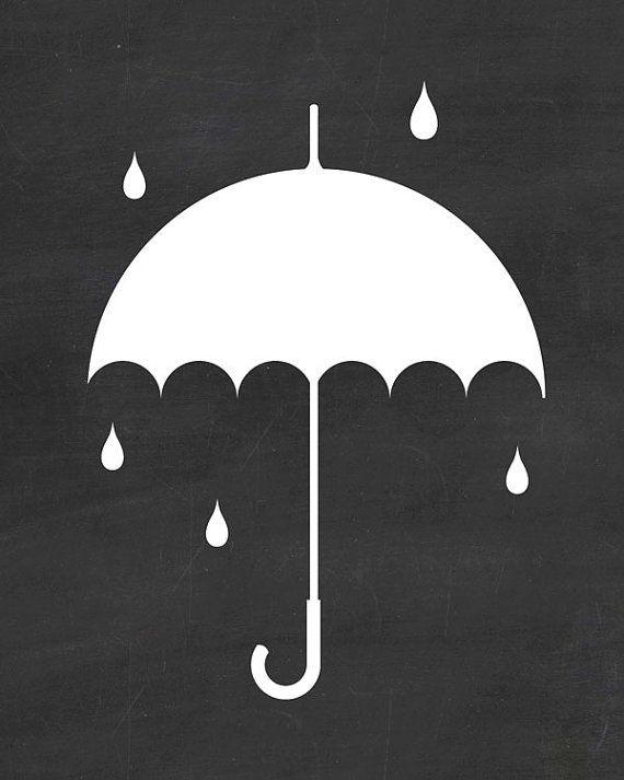 Umbrella Print Rain Illustration Raining by PrintableQuirks