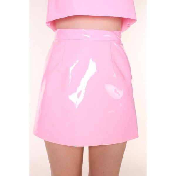 Made To Order Pink PVC Motel Skirt By GFD ($50) ❤ liked on Polyvore featuring skirts, checkered skirt, checkerboard skirt, pink skirt, checked skirt and pink pvc skirt
